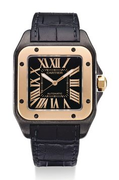 Cartier AN ADLC-COATED STAINLESS STEEL AND PINK GOLD SQUARE AUTOMATIC CENTER SECONDS WRISTWATCH SANTOS 100 CIRCA 2010