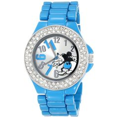Disney Mickey Mouse Silver Dial Blue Enamel Bracelet Watch ($23) ❤ liked on Polyvore featuring jewelry, watches, mens wrist watch, blue bracelet, deep blue watches and disney watches