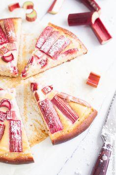 Sharp sweet tender pink rhubarb sits atop a thick vanilla bean custard and a brioche base for the most decadent way to kickstart a weekend brunch!