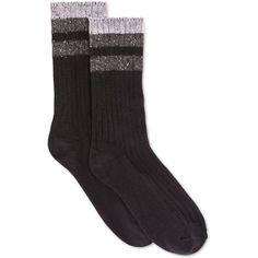 Hue Women's Tweed Stripe Boot Socks ($8.50) ❤ liked on Polyvore featuring intimates, hosiery, socks, black, striped socks, hue hosiery, black socks, scrunch socks and black hosiery