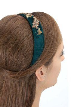 Teal velvet embroidered hairband BY KARIESHMA SARNAA. Shop now at perniaspopupshop.com #perniaspopupshop #womensfashion #love #jewellery #happyshopping #exquisite #shopnow