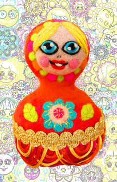 Matryoshka style hand crafted soft sculpture, one of a kind piece of art made with needle felted wool and handmade embroidery, folk art doll.  Size: head