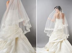Chantilly lace oval fingertip veil by Haute Bride.