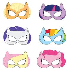 My Little Pony Inspired Printable Masks. Because a certain little girl wants a Princess Twilight Sparkle birthday. My Little Pony Party, Cumple My Little Pony, My Lil Pony, My Little Pony Craft, Rainbow Dash Party, Anniversaire My Little Pony, My Little Pony Printable, Horse Mask, Printable Masks