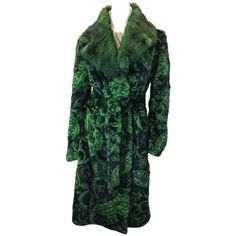 Preowned Etro Green And Black Dyed Sheared Printed Mink Wrap Coat ($1,500) ❤ liked on Polyvore featuring outerwear, coats, green, mink fur coat, green coat, etro, wrap coat and etro coat