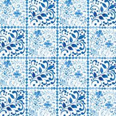 CLOTHWORKS ZIPKIN HUNGARIAN BLUE VINE TILE WHITE