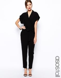 Buy ASOS PETITE Jumpsuit with Tie Waist and Short Sleeves at ASOS. Get the latest trends with ASOS now. Petite Jumpsuit, Black Jumpsuit, Elegant Jumpsuit, Work Fashion, Hijab Fashion, Fashion Wear, Stilettos, Jumpsuit With Sleeves, Kinds Of Clothes