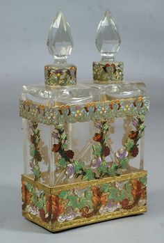 Brass & Cloisonné Perfume Bottles w/ Stand