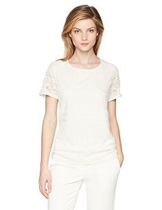 1d481e77 Calvin Klein Women's Short Sleeve Lace Top at Amazon Women's Clothing store:  TeesShirtsButton Down ...