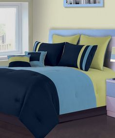 Take a look at this Blue Tripanel Twin Five-Piece Comforter Set by Blanket America on #zulily today!