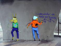 Os Gêmeos, Corrupção + Liberdade de Expressão, São Paulo - unurth   street art
