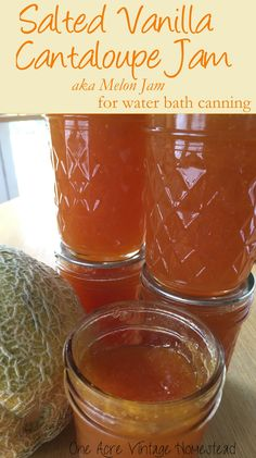 Salted Vanilla Cantaloupe Jam for Water Bath Canning Salty and swe. Salted Vanilla Cantaloupe Jam for Water Bath Canning Salty and sweet cantaloupe jam from Ball's Fresh Preserving website aka Melon Jam from One Acre Vintage Homestead Canning Tips, Home Canning, Canning Recipes, Homemade Jam Recipes, Easy Canning, Homemade Jelly, Cantaloupe And Melon, Cantaloupe Recipes, Vanilla