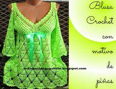 Blusa tejida al crochet con punto piña con esquemas