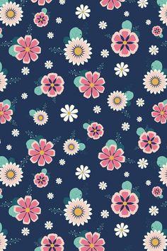 Cute Floral Seamless Pattern by Caro Terranova Vintage Flowers Wallpaper, Flower Iphone Wallpaper, Iphone Background Wallpaper, Flower Backgrounds, Scrapbook Patterns, Pastel Designs, Decoupage Vintage, Pretty Wallpapers, Paper Design