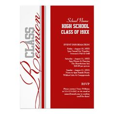 Classy red and white high school reunion invitations to make your reunion planning a breeze! Customize all the info for your reunion celebration and get ready for a fantastic time with all your high school friends! Invitation Paper, Invitation Wording, Printable Invitations, Custom Invitations, Party Invitations, Invitation Templates, Invitation Ideas, Invites, 10 Year Reunion