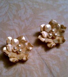 "Vintage ""Pearl Poinsetta"" Earrings $15"