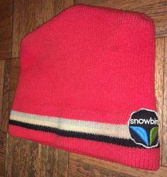 """b5c6b0b2d0b """"Snowbird"""" Ski Winter Sport Vintage Resort Red Striped Wool Ski Cap Hat  Beanie"""