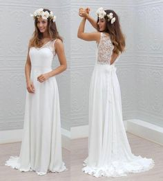 Cheap Lace Sheer Straps Beach Wedding Dresses 2016 Lace Applique Backless A Line V Neck Floor Length Marie Laporte Ella Bridal Gowns Wedding Gown Online Affordable Wedding Gowns From Bestdavid, $125.63| Dhgate.Com
