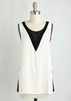 Trick of the Tri Top. Its no illusion - this bold black and white separate is the epitome of edgy chic. #white #modcloth