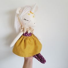 >Please read the store policies before buying < This listening is for one of a kind Yellow Stars Unicorn. She's handmade with love, using...