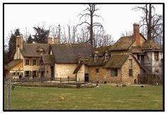 """The Petit hameau de la Reine (""""Little hamlet of the Queen"""") was the rustic retreat built for Marie Antoinette, sited in the private section of the park of Versailles, in a secluded spot within reach of Ange-Jacques Gabriel's Petit Trianon, which Louis XV had built for Madame de Pompadour , and which his successor Louis XVI subsequently gave to his queen."""