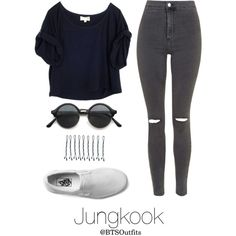 Disneyland with Jungkook by btsoutfits on Polyvore featuring Elizabeth and James, Topshop, Vans and BOBBY