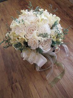 Wedding Bouquet, Sola wood Cream/ivory Bouquet, Woodland Dried Bouquet, Bridal Bouquet, Sola flowers, Alternative Bouquet, Rustic Handmade by TheBloomingCorner on Etsy https://www.etsy.com/listing/204626547/wedding-bouquet-sola-wood-creamivory
