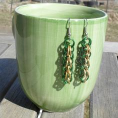 Kadaras - #Green and #Gold Apollo #Earrings. $10.00, via #Etsy.  #handmade #chainmaille #jewelry #renfaire #fashion #style