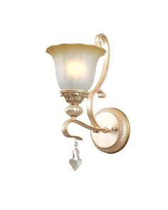 Gold Finish Wall Sconce with Flower Shaped Glass Shade