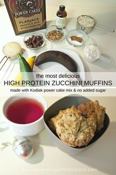 high protein zucchini muffins Ingredients: - 1 very ripe, mashed banana - 1 cup shredded zucchini large or 2 medium zucchinis) - cup unsweetened applesauce - 1 egg - 1 tsp vanilla extract - 1 cup Kodiak power cakes mix - 1 scoop protein powder - 1 Protein Muffins, Zucchini Muffins, Protein Cookies, Apple Muffins, Paleo Vegan, Vegan Easy, Vegetarian, Cake Mix Recipes, Ww Recipes