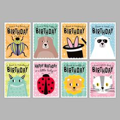 Back to school, back to kids' parties! Kids Birthday Card pack by Zedig Design Happy Birthday Girls, Birthday Cards For Boys, Happy Birthday Greetings, Birthday Greeting Cards, Personalised Gifts Handmade, Cute Animal Illustration, Cute Monsters, Anniversary Cards, Gifts For Kids