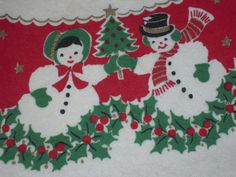 Vintage CHRISTMAS Apron Mr & Mrs Snowman