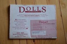 VTG Mint Condition Dolls Collectors Magazine Bob McKINLEY Dolls Protective Cover