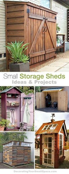 Shed DIY - Small Storage Sheds Ideas Projects! With lots of Tutorials! Now You Can Build ANY Shed In A Weekend Even If You've Zero Woodworking Experience! Shed Storage, Small Storage, Garage Storage, Outdoor Storage Sheds, Outdoor Sheds, Small Garden Storage Ideas, Small Outdoor Shed, Patio Storage, Garden Tool Storage
