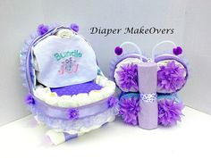 Baby Girl Gift Set Girl Diaper Cake Unique by DiaperMakeOvers