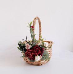 Red Flower Girl, Rustic Flower Girls, Lace Flower Girls, Rustic Flowers, Flower Girl Basket, Flower Hair Pieces, Flowers In Hair, Purple Groomsmen, Willow Flower