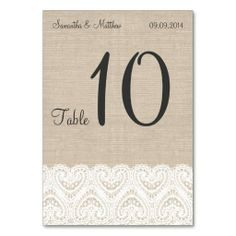 Vintage Ivory Lace & Rustic Burlap Table Numbers Table Card