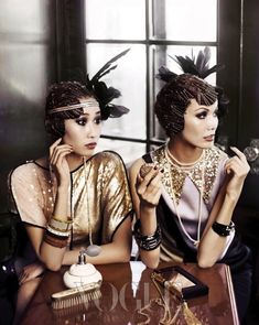 Flapper fashion shoot in Korean Vogue. I would love for 20s fashion to come around again.