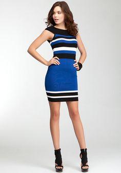 bebe | Off Shoulder Stripe Bandage Dress - WEB EXCLUSIVE - View All