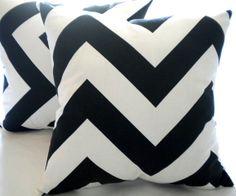 Beach house decorative pillow cover -  Black white Large chevron pillow cover 18 x 18