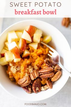 This sweet potato breakfast bowl is full of fall flavors! It's made healthy with mashed sweet potatoes, crisp apples, and pecans. It's a delicious breakfast treat, but easy to make! #breakfastbowl #sweetpotatoes Sweet Potato Pecan, Sweet Potato Breakfast, Mashed Sweet Potatoes, Breakfast Bowls, Breakfast Recipes, Apple Crisp, Pecans, Pot Roast, Fall Recipes