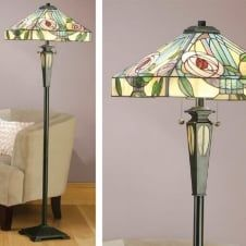 WILLOW Tiffany standard floor lamp, Art Nouveau style
