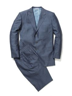 Blue Pinstripe Suit by Belvest at Gilt