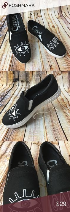 Sam Edelman Circus Eye Can't Canvas Shoes Sneakers These black canvas slip on shoes are in good, lightly worn condition. Minor scuffs, scratches and marks from light wear. Please see pics for more details on condition (: Sam Edelman Shoes Sneakers