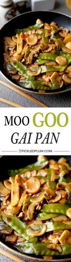 Moo Goo Gai Pan - Easy recipe for Chinese chicken and vegetable stir fry tossed in a nutty, sour, sweet and savory, gooey sauce (ready in 20 minutes!). We love this for a simple and healthy work lunch! | pickledplum.com