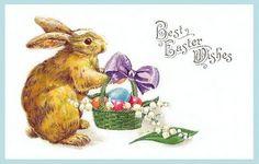 Free freebie printable vintage postcard easter bunny rabbit and basket of Easter eggs Vintage Cards, Vintage Postcards, Easter Bunny, Easter Eggs, Easter Greeting Cards, Easter Projects, Easter Printables, Holiday Postcards, Vintage Easter