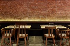 Yakiniku Master REstaurant | Golucci International Design | Brick Patterns, Mixed Chairs, Interesting lighting