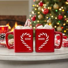 Personalized Candy Cane Couple Heart Mug Set - Personal Creations Gifts Christmas Couple, Christmas Time, Christmas Crafts, Xmas, Christmas Dishes, Christmas Ideas, Mary Christmas, Cabin Christmas, Christmas Feeling