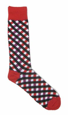 Amazon.com: Steven Land Men's Cross Striped Sock (Shoe: 7-12/Sock: 10-13) Red/Purple/Charcoal: Clothing