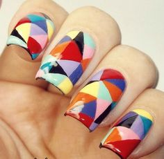 Triangle Colorful Nail Art For Beginners